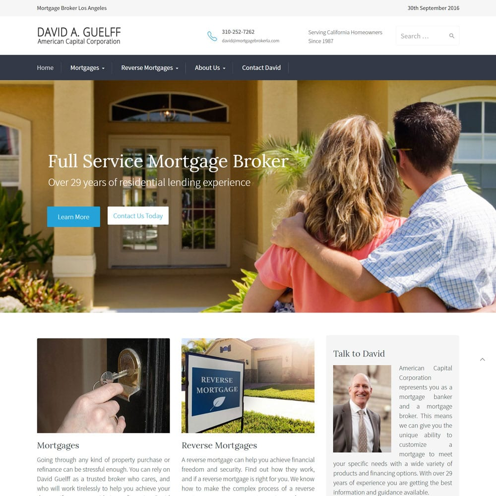 Website for David Guelff, Mortgage Broker