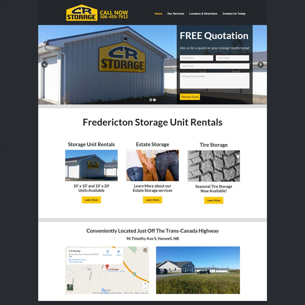 Website for CR Storage, Hanwell Rd., New Brunswick
