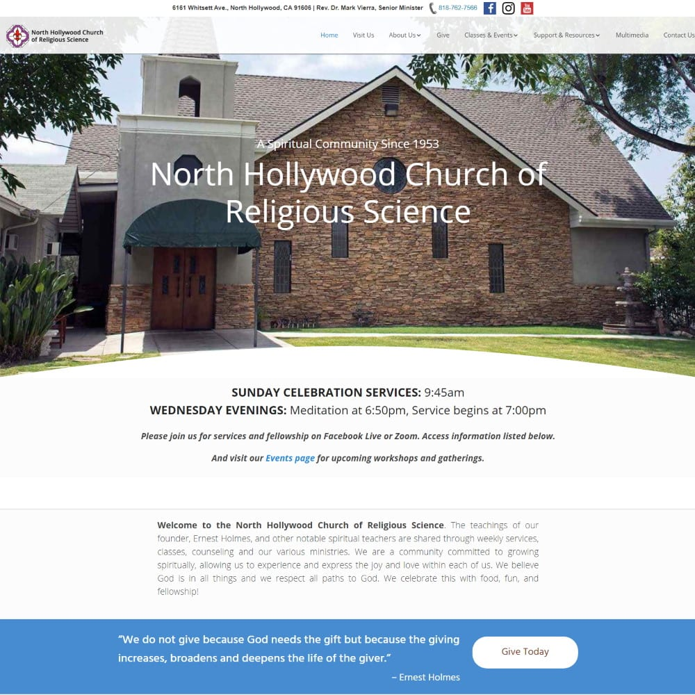 Website for the North Hollywood Church of Religious Science, North Hollywood, CA