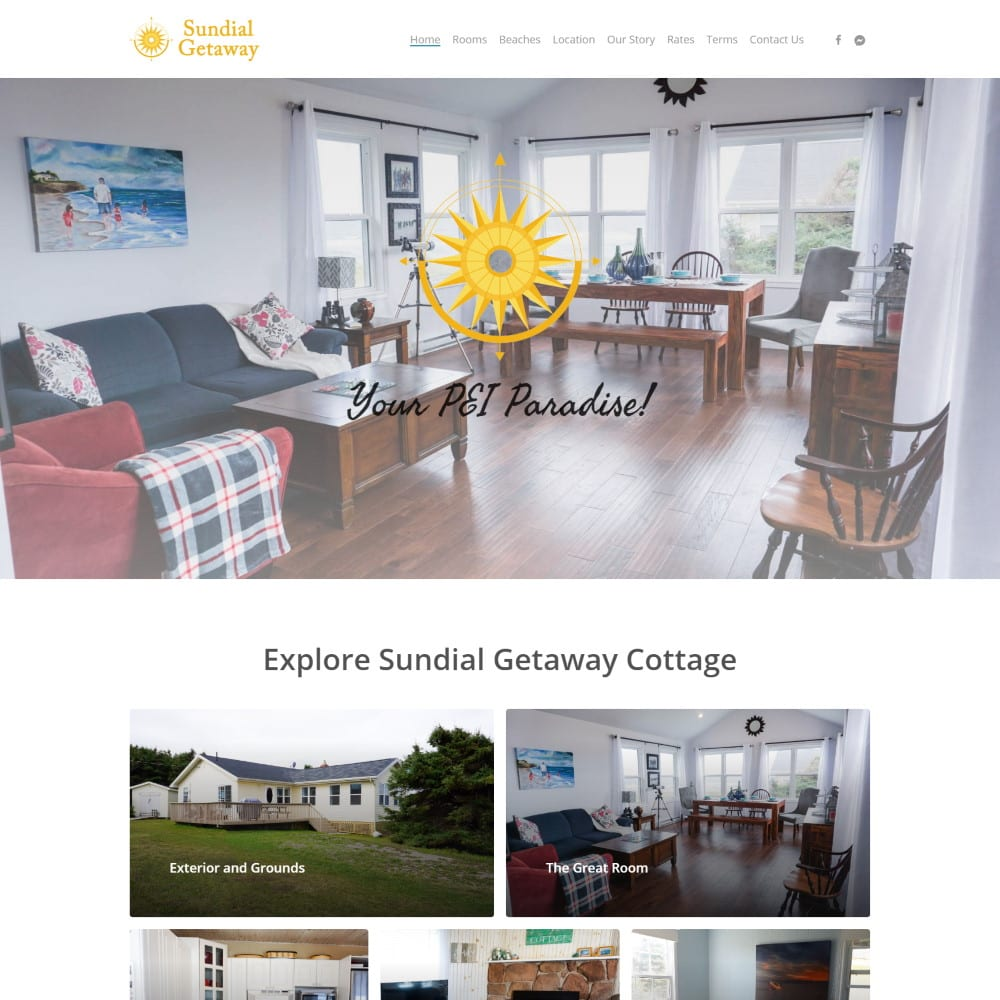 Website for Sundial Getaway Cottage, Savage Harbour, PEI