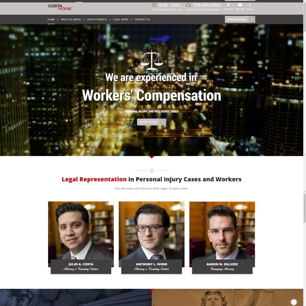 Website for Costa Ivone Law, Chicago, IL