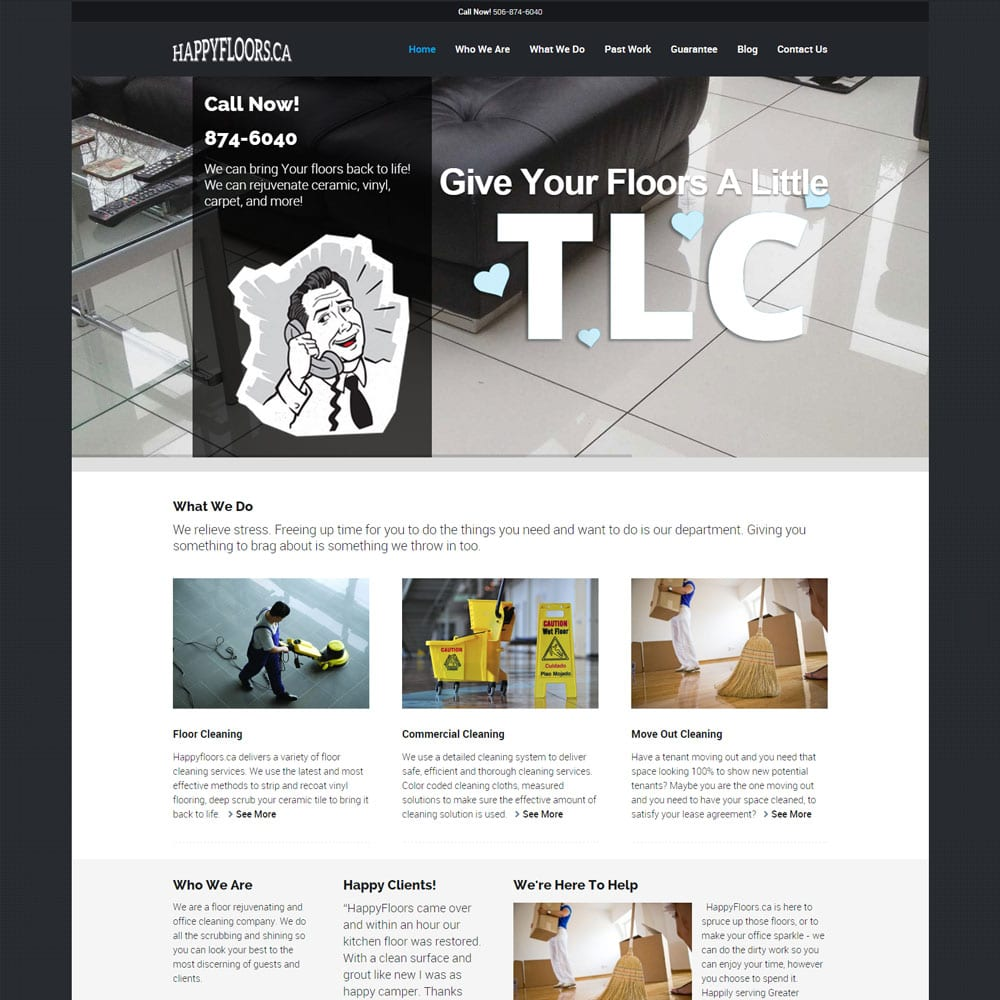 Website for Happyfloors, Moncton, NB