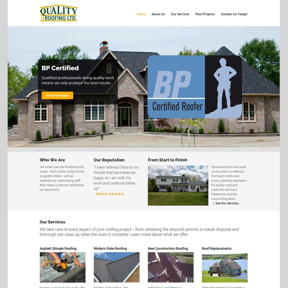 Website for Quality Roofing Ltd., Fredericton, NB